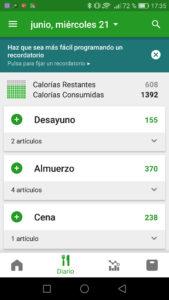 FatSecret calorías diarias