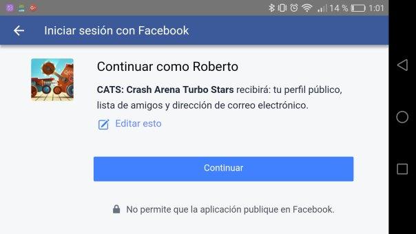 C.A.T.S. Inicio sesión facebook
