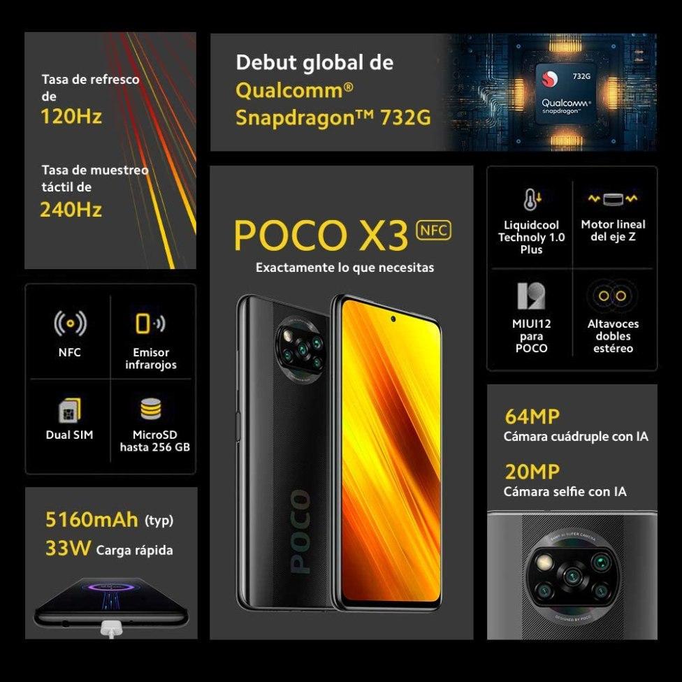 Características del Xiaomi Poco X3 NFC, el mejor teléfono móvil para Jugar