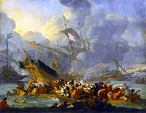 Batalla de Lepanto. Galeras turcas parecidas a las de la escuadra del renegado Arzan