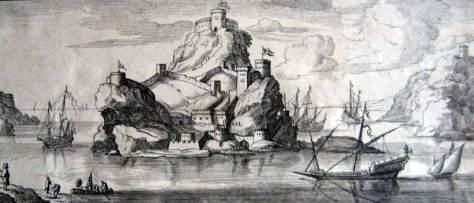 Grabado del Peñón de Vélez de la Gomera en 1692