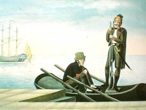 Marinero y soldado de infantería de marina españoles de principios del siglo XIX. El soldado lleva su traje de faena cuando está en la mar.