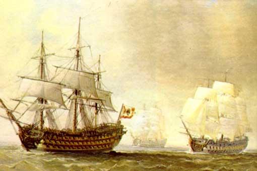 Resultado de imagen para Fotos de los navíos españoles San Hermenegildo y Real Carlos