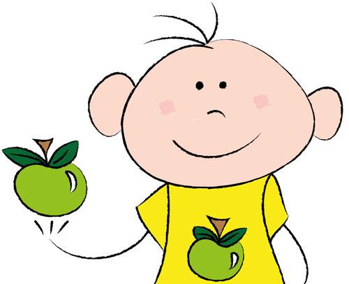 Chico con manzana