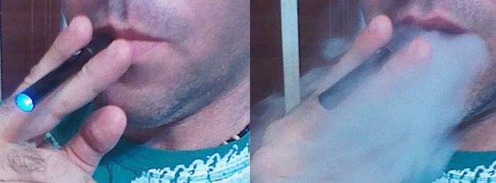 Fumando un cigarrillo electrónico