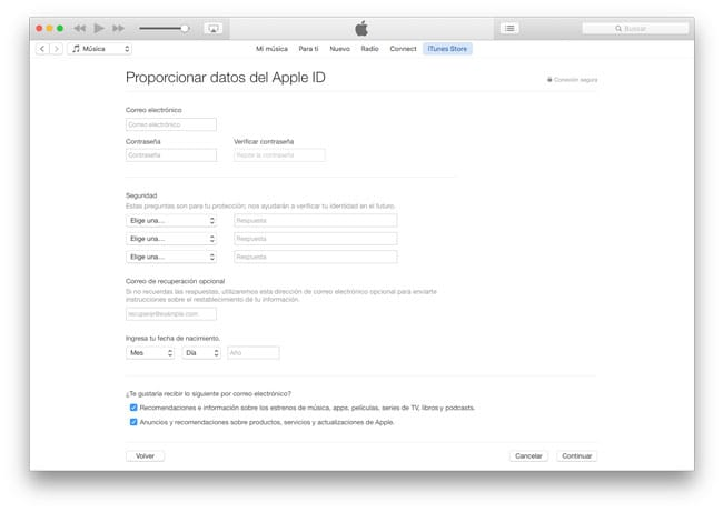 Datos para crear un Apple ID en EEUU