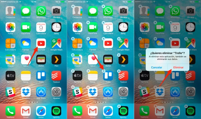 Uninstall iOS apps
