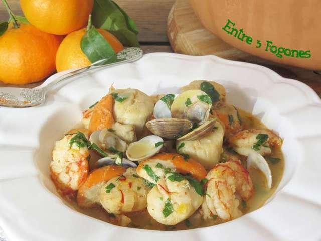 ##vieiras-gambones-en-salsa-de-mandarinas pescados y marisco