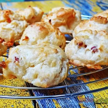 Gougères de queso con jamón 03