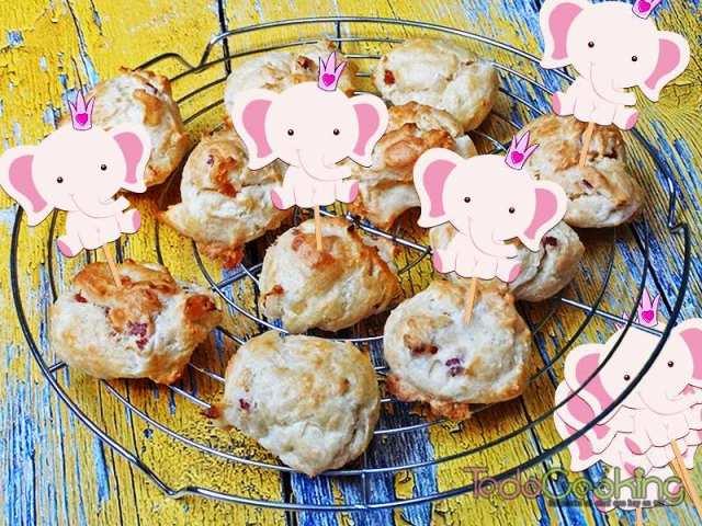 Gougères de queso con jamón 05