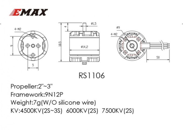 EMAX RS1106 7500KV 6000KV Micro Brushless Motor (348) (518)