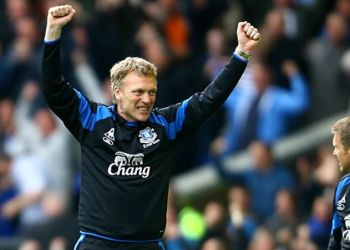 Everton manager David Moyes celebrates on the touchline after Leon Osman (not pictured) scores his side's second goal of the game