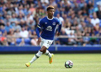 LIVERPOOL, ENGLAND - AUGUST 06:  Mason Holgate of Everton in action during the pre-season friendly match between Everton and Espanyol at Goodison Park on August 6, 2016 in Liverpool, England.  (Photo by Jan Kruger/Getty Images)