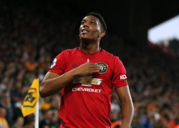 Manchester United's Anthony Martial celebrates scoring his side's first goal of the game during the Premier League match at Molineux, Wolverhampton.
