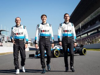 George Russell, Nicholas Latifi y Robert Kubica, pilotos de Williams 2019