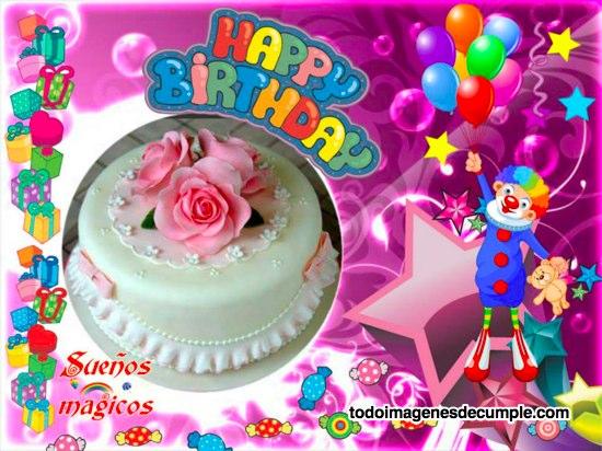 imágenes de happy birthday con torta y payaso