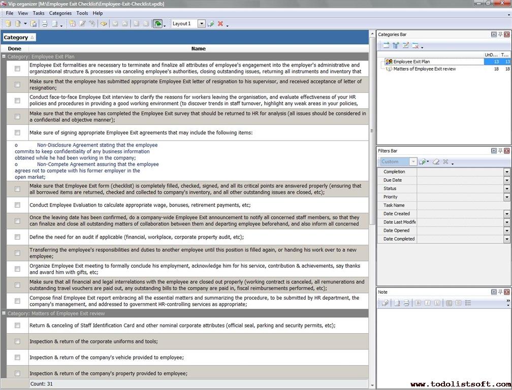 Employee Exit Checklist - To Do List, Organizer, Checklist, PIM ...