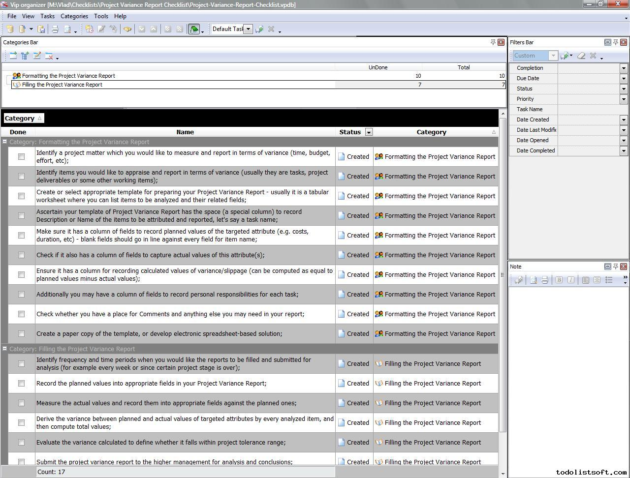 Project Variance Report Checklist