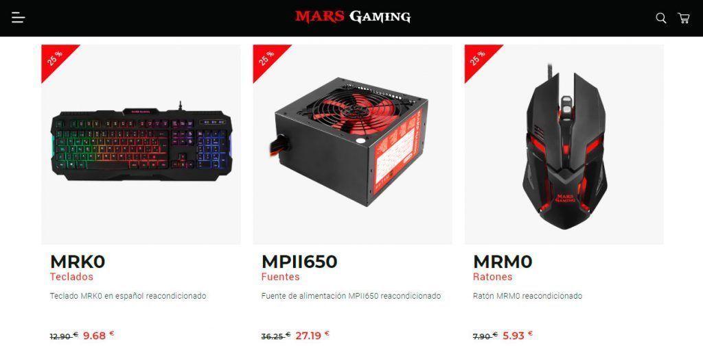 captura de algunas productos ofertados en el outlet de Mars Gaming