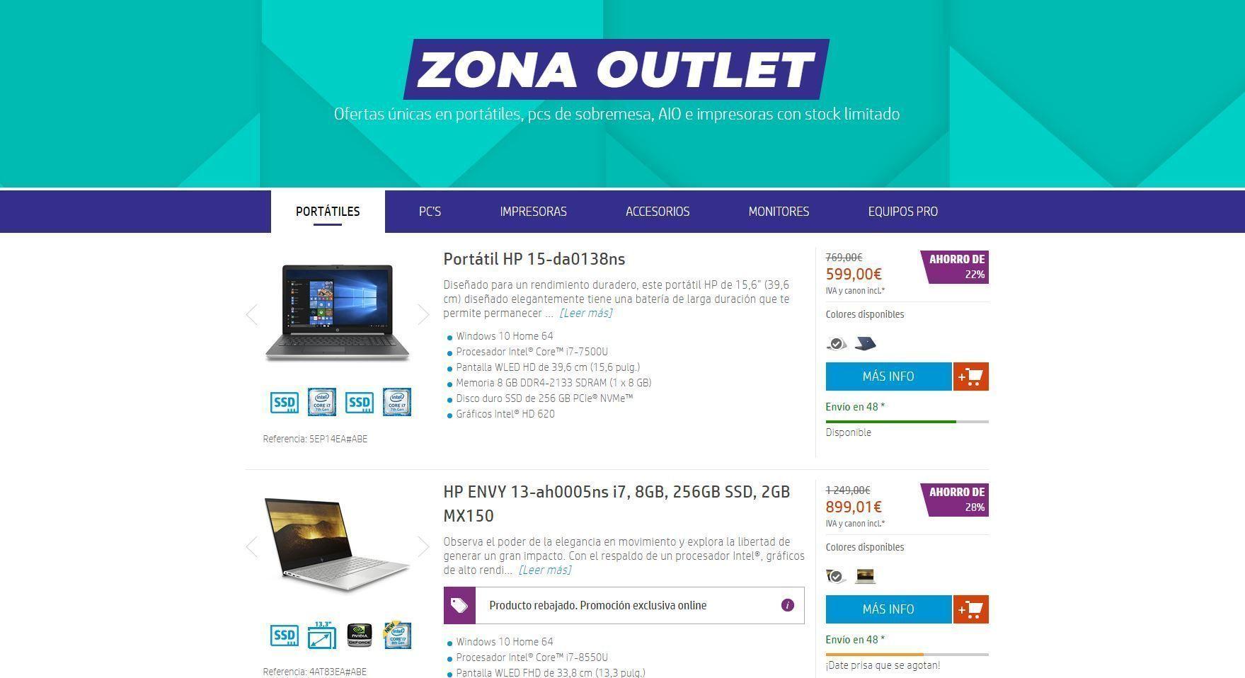 Zona outlet En la tienda online de HP
