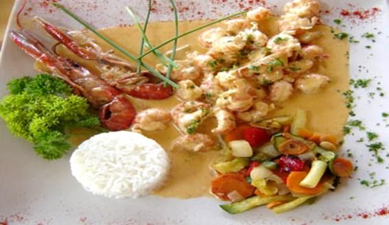 Cocina gourmet con langostas