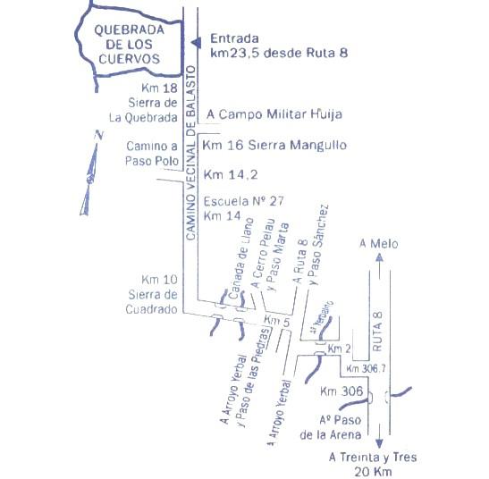 Mapa para llegar a la Quebrada de los Cuervos