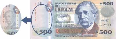 Seguridad billete 500 pesos uruguayos