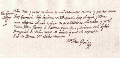 Documento de bautismo de Artigas