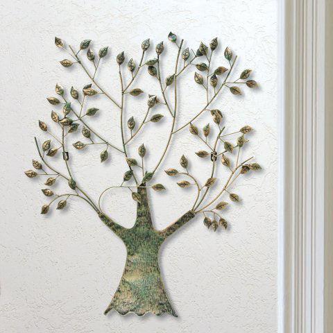 Wandrelief Lebensbaum mit Blttern Wanddeko aus Metall