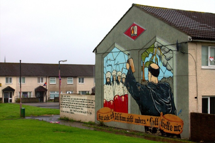 A mural depicting Martin Luther and the Protestant reform.