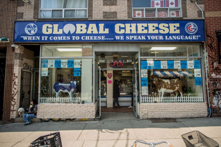 Exterior of Global Cheese in Kensington Market Toronto