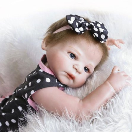 "23"" Reborn Baby Doll in Dots Pattern Dress"