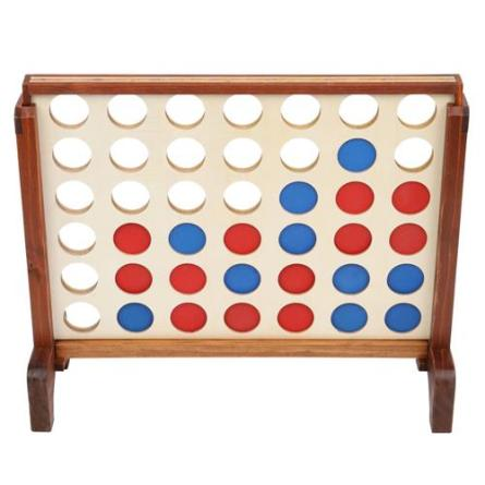 Wooden 4 in a Row Game with Storage Bag