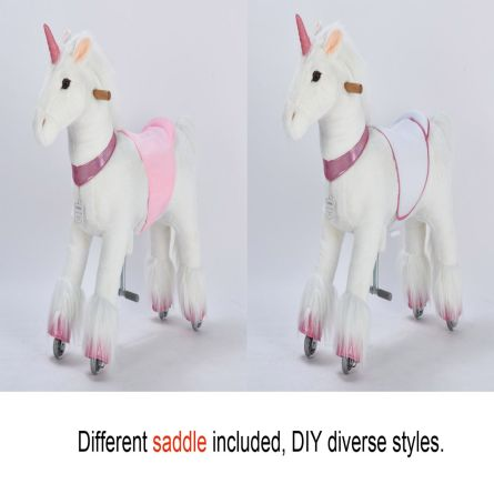 36'' Ride-on Unicorn for 4-9 Years Old  (White Unicorn with Pink Horn)