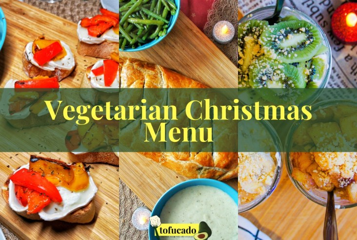 Vegetarian Christmas Menu close up with starter, main and dessert