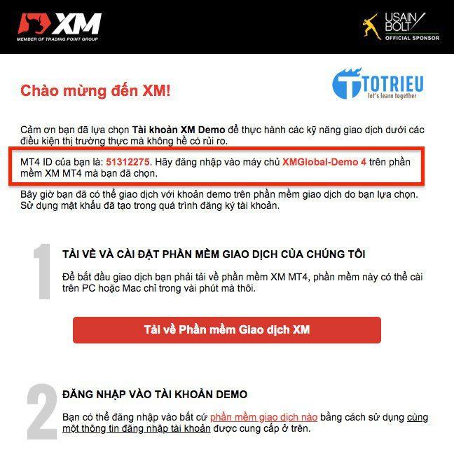 Email thông tin tài khoản XM