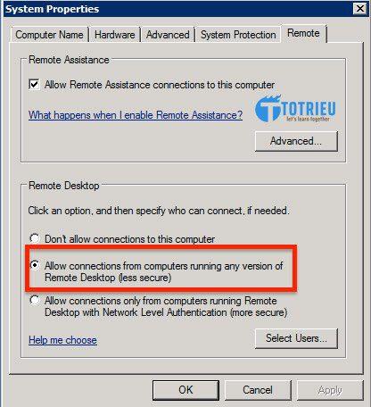 Cho phép truy cập VPS thông qua Remote Desktop