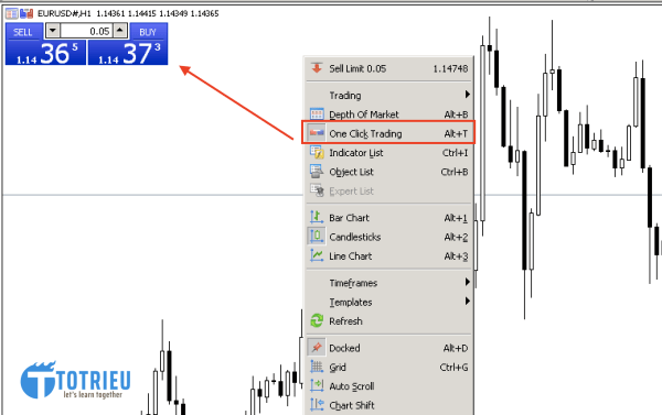 MetaTrader One Click Trading (Alt +T)