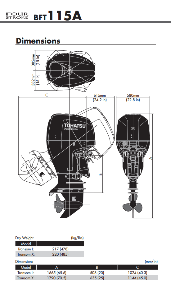 Tohatsu 115hp outboard engine