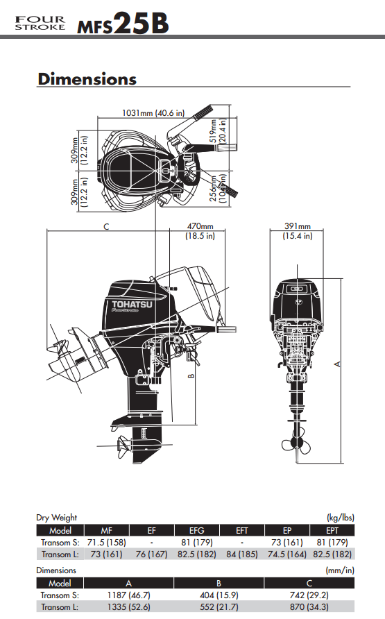 Tohatsu 25hp outboard engine