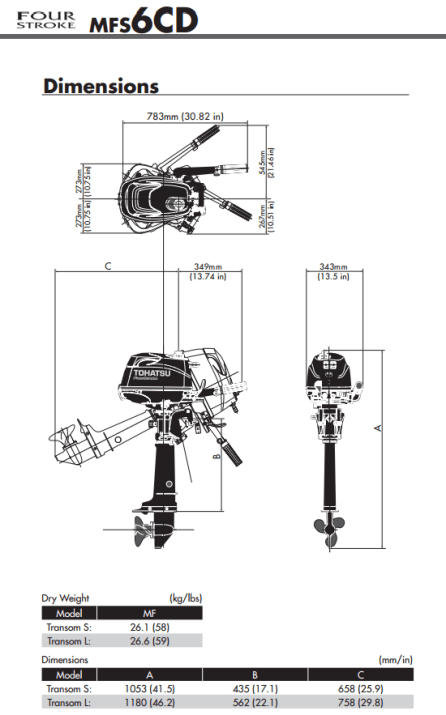 Tohatsu 6hp outboard engine