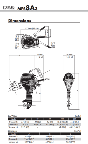 Tohatsu 8hp outboard engine