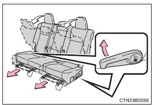 Toyota Highlander Owners Manual: Moving a second seat for