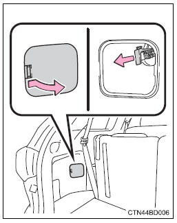 Toyota Highlander Owners Manual: Opening the fuel tank cap