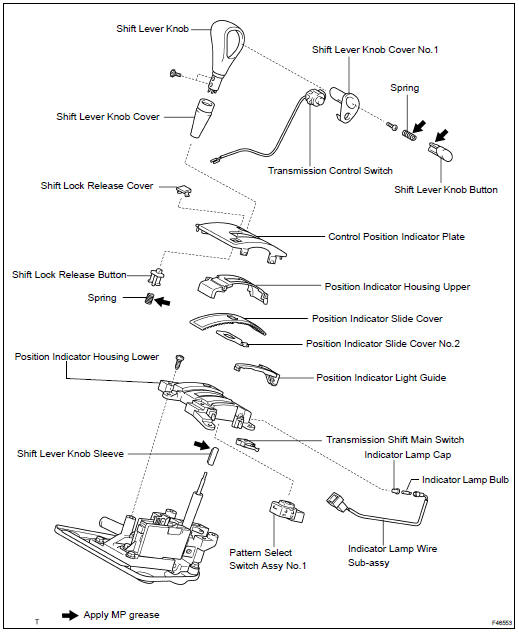 Toyota Highlander Service Manual: Shift lever ASSY (ATM