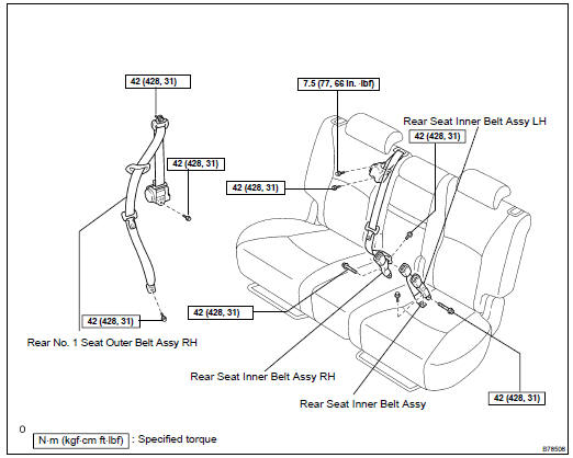 Toyota Highlander Service Manual: Rear NO.1 Seat belt