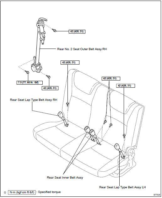 Toyota Highlander Service Manual: Rear NO.2 Seat belt