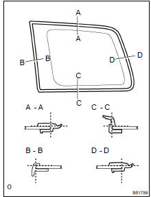 Toyota Highlander Service Manual: Quarter window ASSY LH