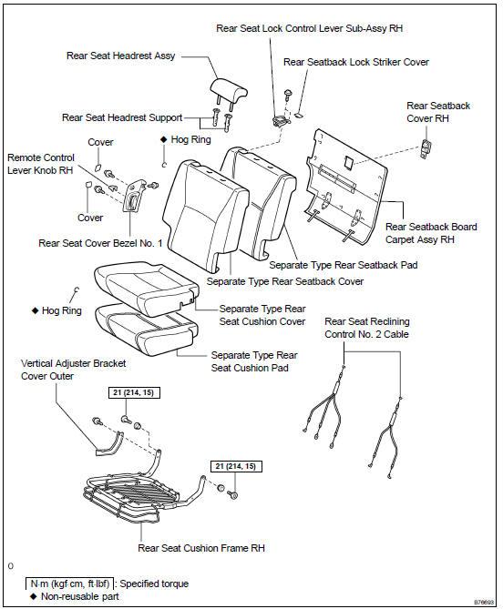Toyota Highlander Service Manual: Rear NO.1 Seat ASSY RH