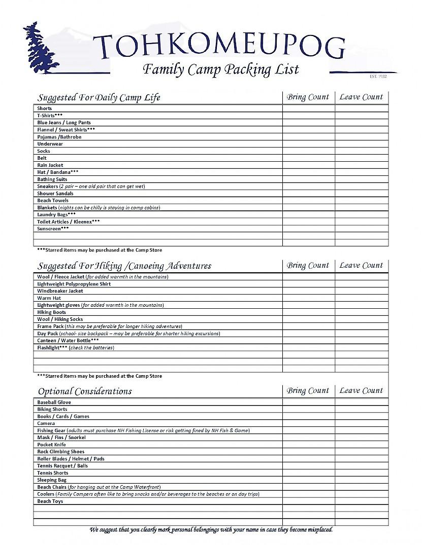 Camp Tohkomeupog – Packing List